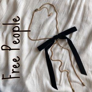 FREE PEOPLE black velvet bow bolo necklace - NWOT